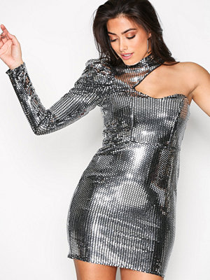 River Island Disco Bodycon Dress Silver