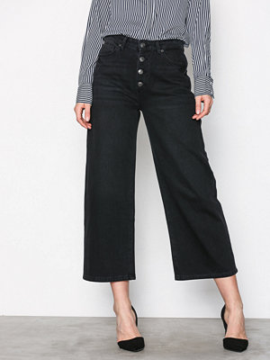 Selected Femme svarta byxor Sfgene Hw Cropped Wide Jeans Black Svart