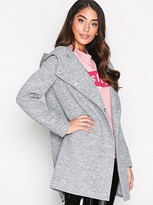 Only onlFAIRY Mel Hooded Long Coat Cc Ot Ljus Grå