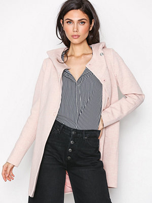 Only onlFAIRY Mel Hooded Long Coat Cc Ot Ljus Rosa