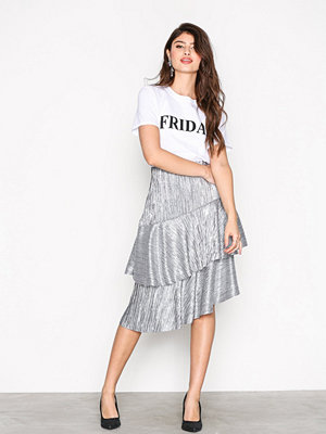 NLY Trend Pleated Metallic Skirt Silver