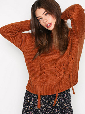 New Look Threaded Lace Up Jumper Mocha