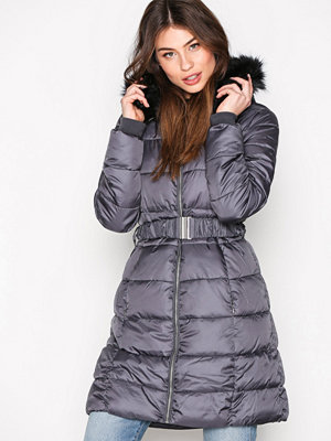 New Look Belted Puffer Jacket Charcoal