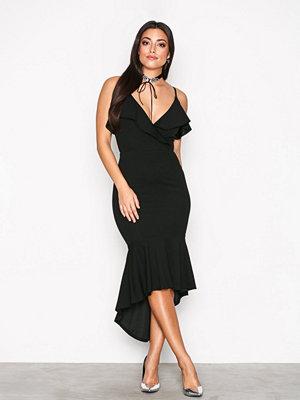 Ax Paris Thin Strap Frill Dress Black