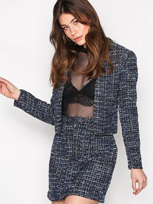 New Look Boucle Cropped Blazer Blue/Black