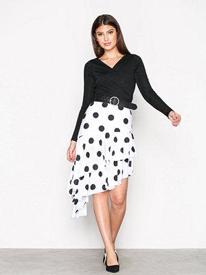 NLY Trend High Low Print Skirt Vit/Svart