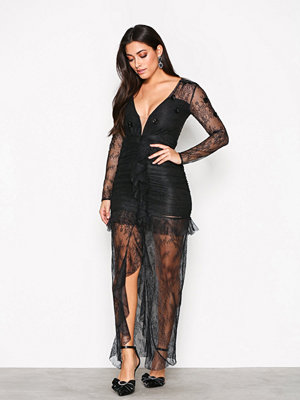 For Love & Lemons Daisy Lace Midi Dress Black