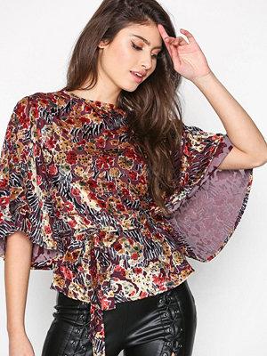 Topshop Angel Sleeve Printed Blouse Multi