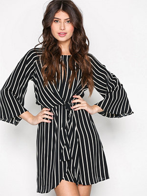 Topshop Striped Knot Front Dress Monochrome