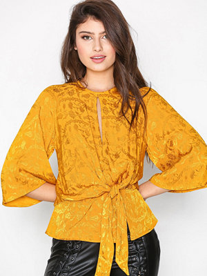 Topshop Knot Front Jacquard Blouse Mustard
