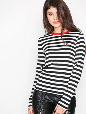 Topshop Star Applique Stripe T-Shirt Monochrome