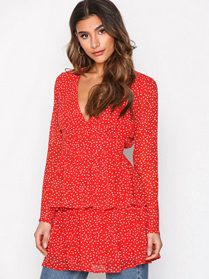 Missguided Polka Dot Plunge Dress Red