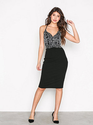 River Island Lace Midi Bodycon Dress Black