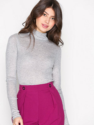 Topshop Fine Funnel Neck Top Grey Marl