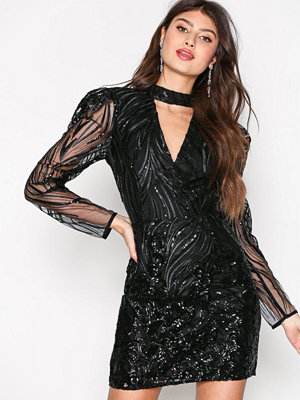 River Island Long Sleeve Bodycon Dress Black