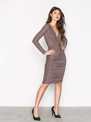 Ax Paris Wrap Over L/S Bodycon Pewter