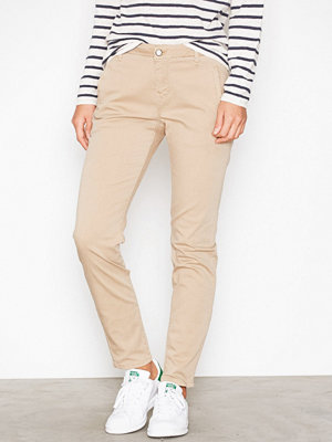 Selected Femme omönstrade byxor Sfingrid Mr 2 Tapered Chino Nomad N Ljus Brun