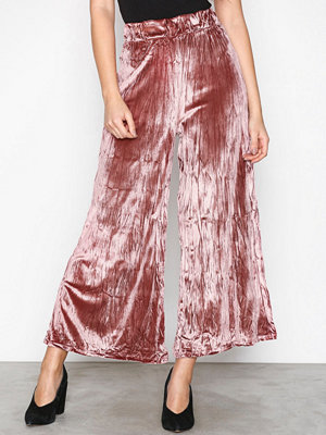 Topshop omönstrade byxor Crushed Velvet Trousers Rose