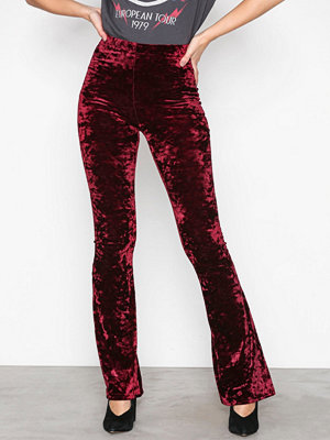 Topshop Velvet Flared Trousers Wine