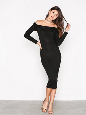 Missguided Bardot Bodycon Midi Dress Black
