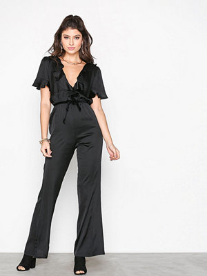 For Love & Lemons Bette Open Back Romper Black