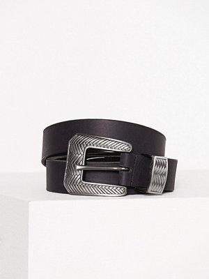 Bälten & skärp - Only onlDISKA Leather Belt Acc Svart