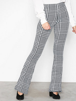 Topshop Checked Flared Trousers Monochrome