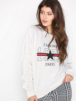 Topshop J'Adore Slogan Sweatshirt Cream