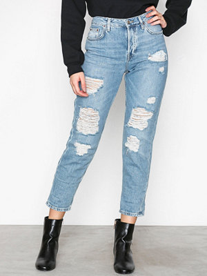 Topshop Super Ripped Hayden Boyfriend Jeans Bleach Acid Wash