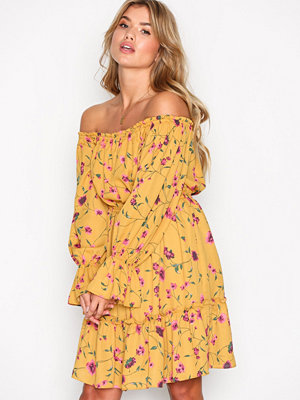 Glamorous Bardot Frill Dress Mustard