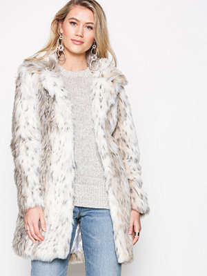 Fuskpälsjackor - New Look Animal Print Faux Fur Coat White Print