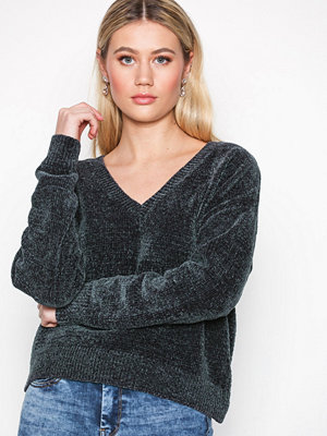 New Look Chenille V Neck Top Charcoal