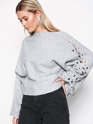 River Island Lace Up Boxy Jumper Grey