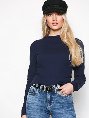 River Island Long Sleeve High Neck Top Navy