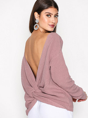 NLY Trend Tie Back Knit Sweater Ljus Rosa