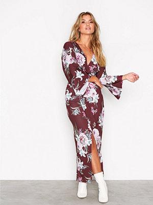 NLY Trend Print Kimono Dress Wine