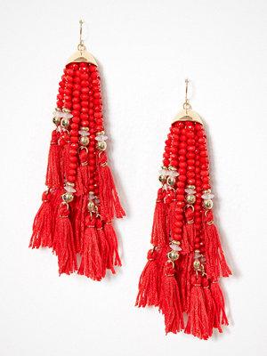 New Look örhängen Beaded Tassel Drop Earrings Red