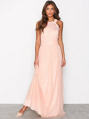 Little Mistress Floral Applique Maxi Dress Peach