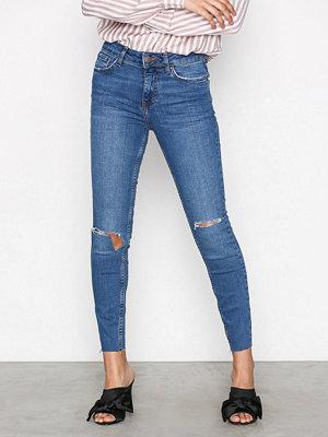 New Look Fray Hem Skinny Jeans Blue