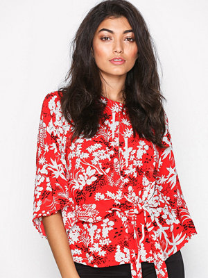 Topshop Fern Knot Front Blouse Red