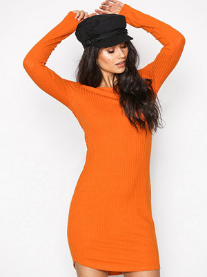 NLY Trend Wide Rib Round Neck Dress Orange