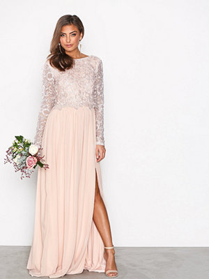 NLY Eve Lace Trim LS Gown Ljus Rosa