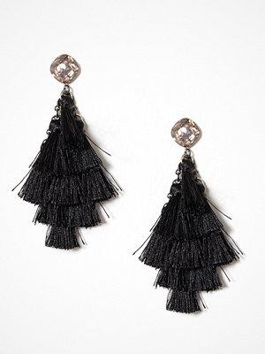 New Look örhängen Glitter Top Tassel Drop Earrings Black