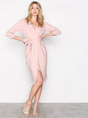 Closet 3/4 Sleeve Wrap Dress Beige