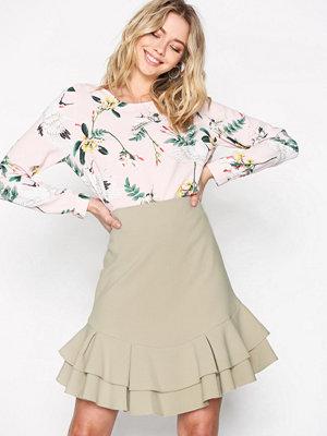 Closet Frill Hem Skirt Beige