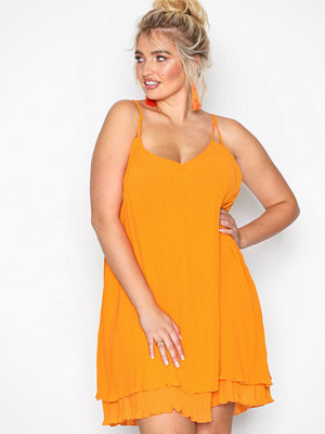 River Island Turner Pleat Slip Dress Orange