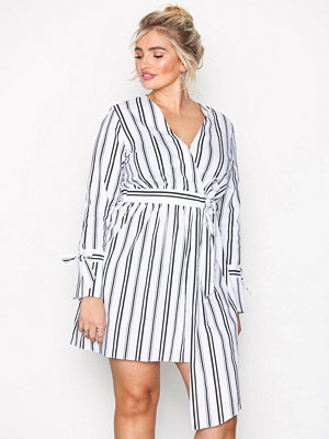River Island Long Sleeve Waisted Dress Stripes