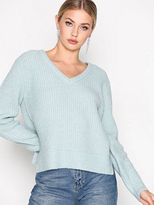 Selected Femme Sfminty Ls Knit V-Neck Turkos
