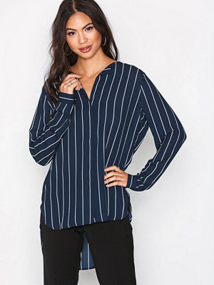 Blusar - Selected Femme Slfdynella Stripe Ls Shirt Noos Offwhite