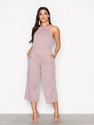 Missguided Racer Neck Frill Detail Cullotte Jumpsuit Pink